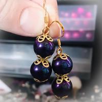 kahden helmen korvakorut violetti/sinen helmi