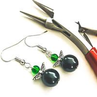 Vihreää & mustaa pikku keiju korvakorut