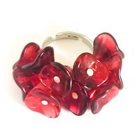 10 kukan sormus tumman punainen