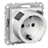 1-osainen uppoasennettava vikavirtasuojan sisältävä pistorasia keskiölevyllä, Schneider Electric