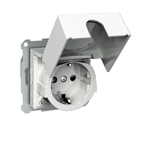 1-osainen uppoasennettava kannellinen vikavirtasuojan sisältävä pistorasia keskiölevyllä, Schneider Electric