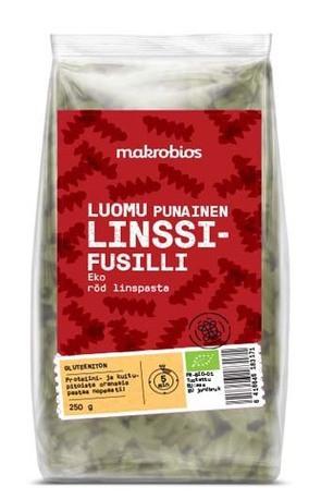 Luomu punainen linssifusilli 250 g, Makrobios