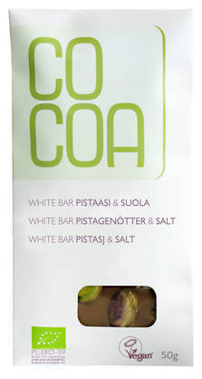 White bar Pistaasi & suola  50g, Cocoa