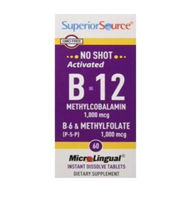 B12 Methyl 1000 µg + B6+ Metyylifolaatti 1000 µg, 60 tbl, Superior Source