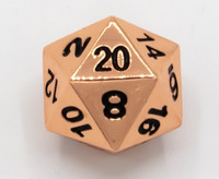 Metallinen D20 noppa, kupari, mustat numero