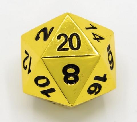 Metallinen D20 noppa, kulta, mustat numero