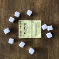 Chessex tyhjä valkoinen D6 noppa, 10 kpl