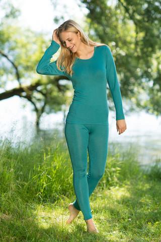 Engel naisten turkoosit silkkivillaiset leggingsit