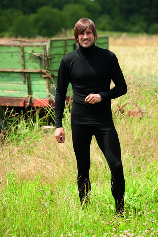 Engel miesten musta silkkivillainen paita poolokauluksella