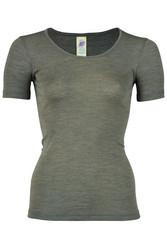 Engel naisten silkkivillainen lyhythihainen paita, pähkinänruskea