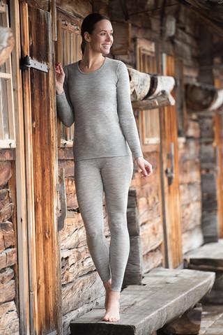 Engel naisten silkkivillainen pitkähihainen paita, harmaa