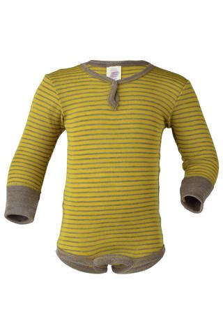 Engel pitkähihainen silkkivillainen raitabody kelta/ruskea