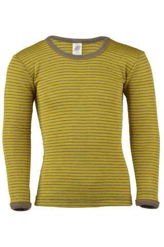 Engel raidallinen silkkivillapaita kelta/ruskea