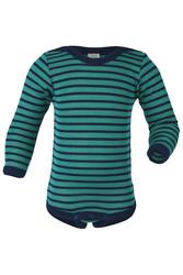 Engel pitkähihainen silkkivillainen raitabody merenvihreä/sininen