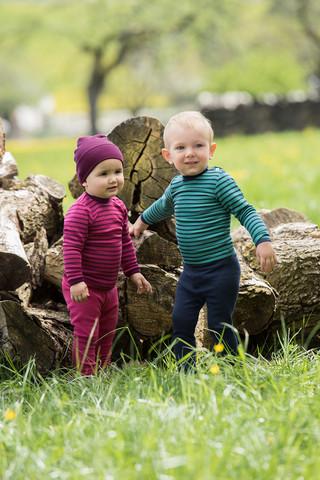 Engel raidallinen silkkivillapaita vauvalle pinkki/viininp.