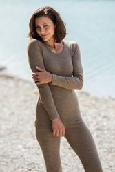 Engel naisten silkkivillainen pitkähihainen paita, pähkinänruskea