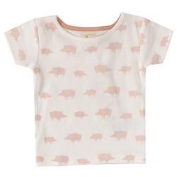 Pigeon t-paita vaaleanpunaisella possuprintillä, lyhyet hihat