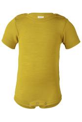 Engel lyhythihainen vauvan silkkivillabody, keltainen