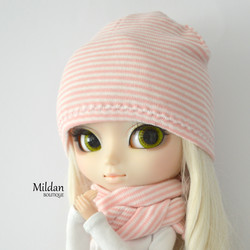 Beanie with sripes, light pink