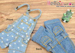 Denim Overalls Shorts, faded blue