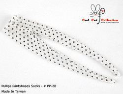 Pantyhoses Socks, Net White + Black Dot