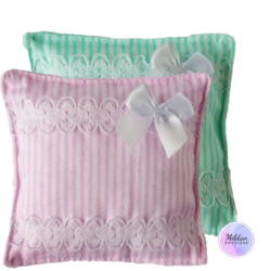 Striped pillow with bow