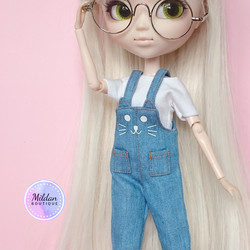 Cat Bib & Brace Overall, denim