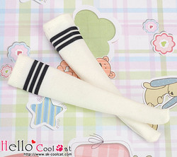 Cool Cat Collection Knee Printing Socks - White-black