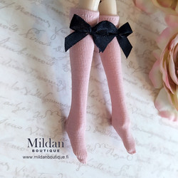 Knee socks with bow - light pink
