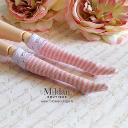 Striped knee socks with lace  - pink