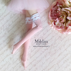 Thigh high socks with lace - light pink