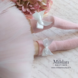 Thigh high socks with bow - light pink