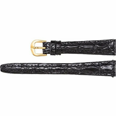 WANTON Black Crocodile Grain Semi Padded Nahkaranneke