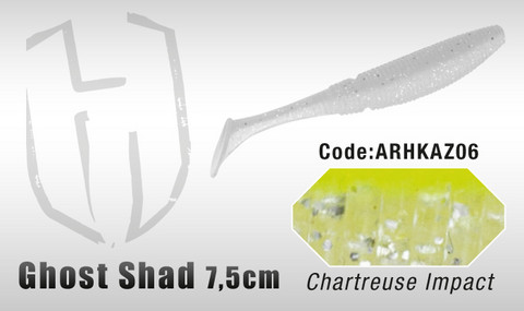 Ghost Shad 7,5cm 8kpl, Chartreuse/Impact