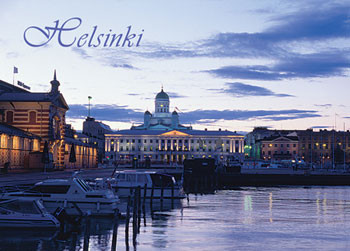 Postikortti Helsinki Suurkirkko yökuva PS-T01-48