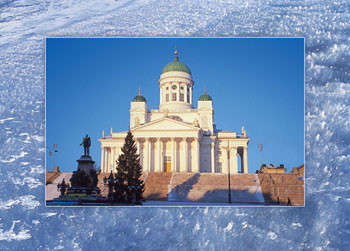Postikortti Helsinki, Tuomiokirkko / The Lutheran Cathedral, lumikidekehys, ilman tekstiä T04-05