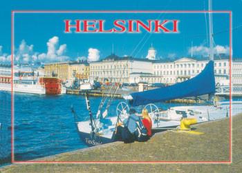 Postikortti Helsinki, meri, purjevene, Kauppatori ja ihmiset T08-11