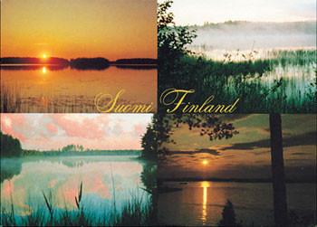 Postikortti Auringonlasku, 4 pientä kuvaa Suomi-Finland PS-T94-1188