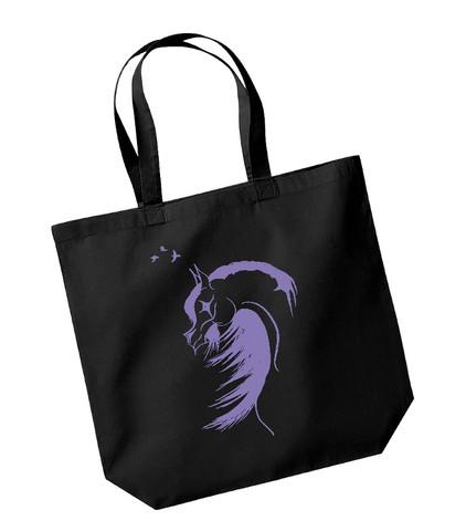 Kangaskassi, hevos-korppi printillä, väri violetti