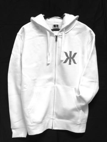 Kaija Koo bling bling logo-huppari vetoketjulla valkoinen kahdella logolla