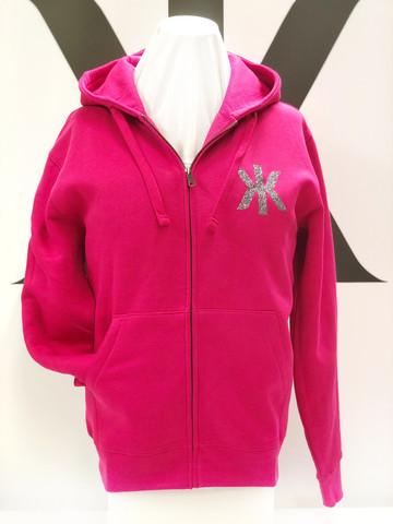 Kaija Koo bling bling logo-huppari vetoketjulla fuksiapunainen kahdella logolla