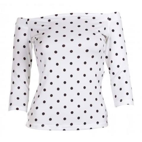 Valkoinen mustapallo pusero