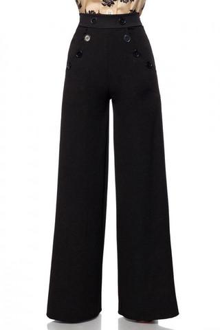 Leveälahkeiset housut mustilla napeilla