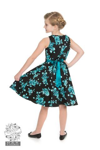 Musta turkoosikukka mekko