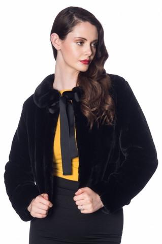 Musta tekoturkis takki