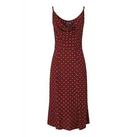 Viskoosi punainen timanttikuvio mekko
