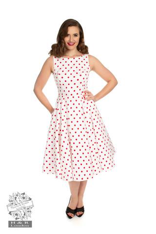 Valkopohjainen punapolkadot mekko