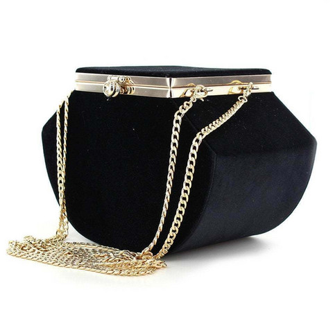 Musta vintagetyylinen samettilaukku