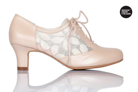 Nude Pink nahkainen pitsikävelykenkä