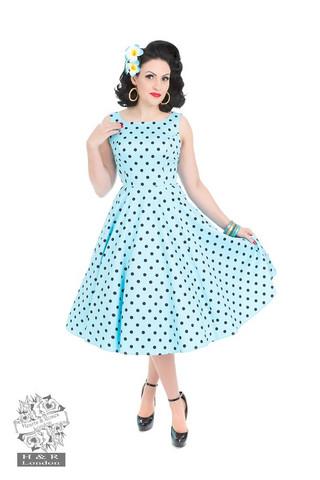 Sinipohjainen mustapolkadot mekko
